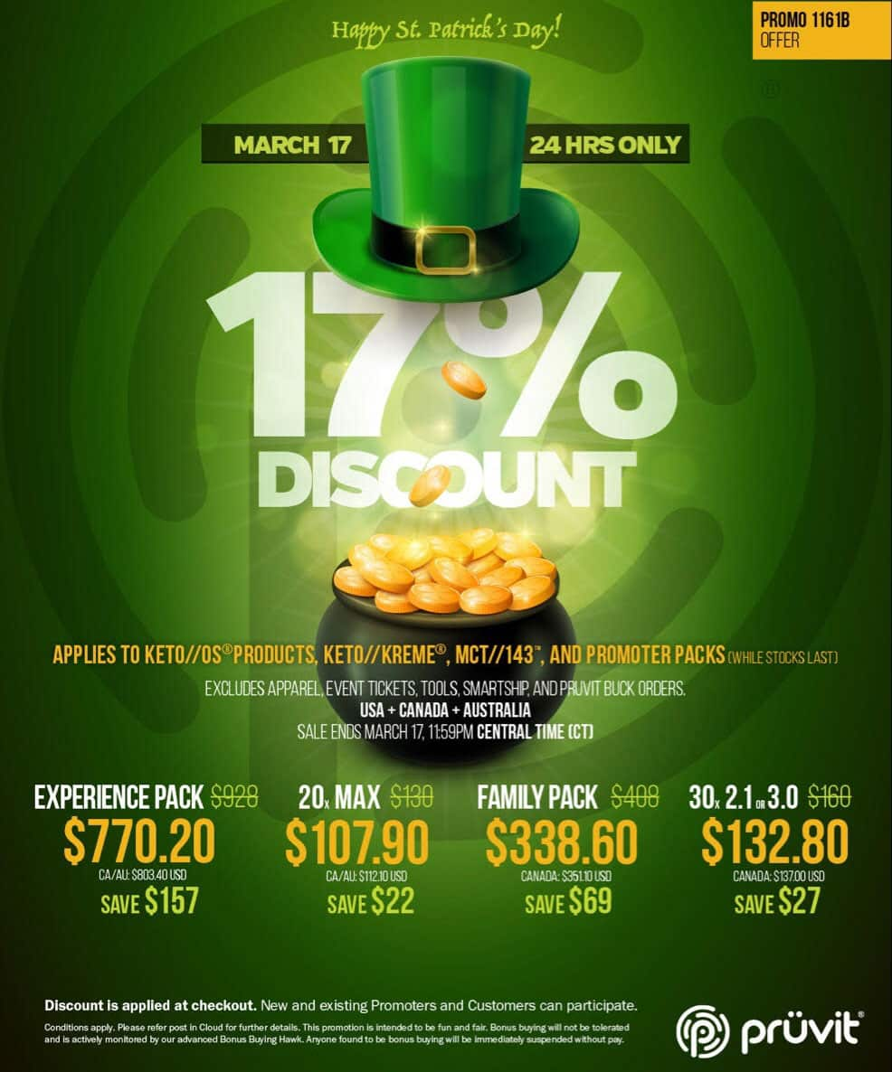 Pruvit St. Patrick's Day Sale 17% Off Ketone Products Storewide