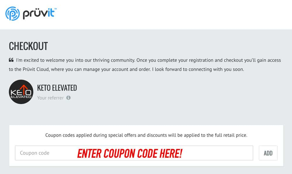 Pruvit coupon code checkout