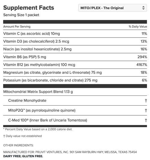 MitoPLEX Supplement Facts